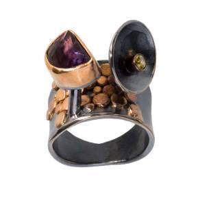 Amethyst+and+Dematoid+Garnet+Ring+-+7