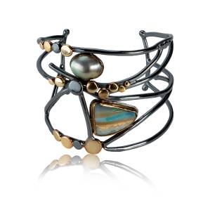 OOAK Opal Cuff - With Reflection White Background LARGE