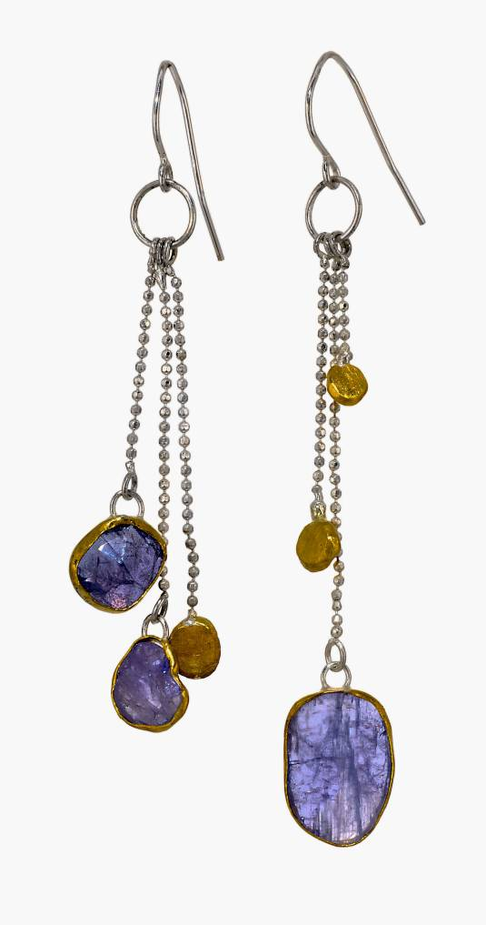 Tanzanite and 24KYG Earrings on Bead Chain