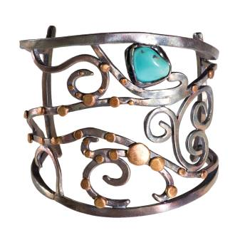 Wrought Iron Turquoise Cuff - 2