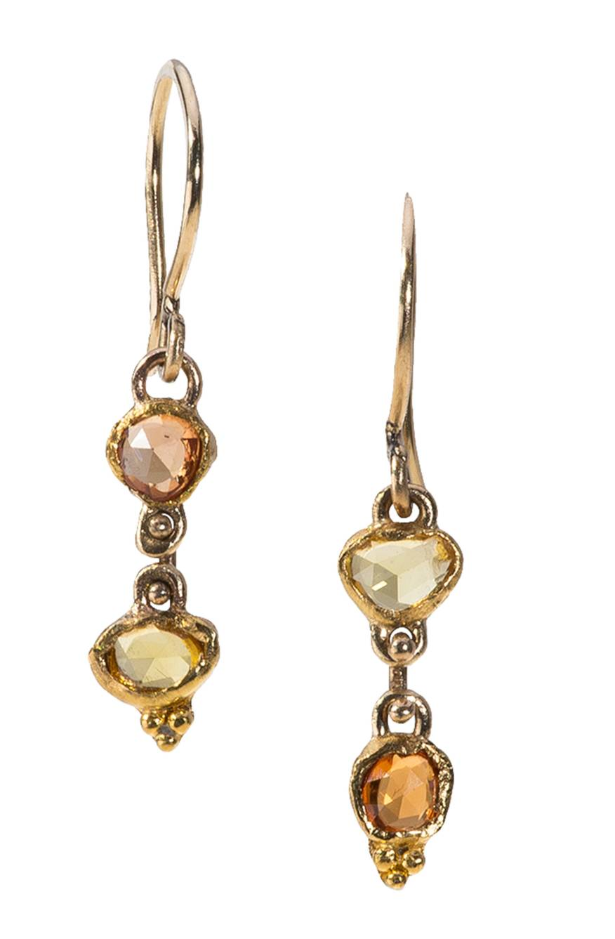 Yellow and Orange Sapphire 22k Gold Dangles - 3